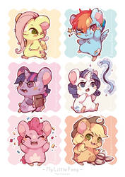 Ham-ham Ponies Poster by Mi-eau