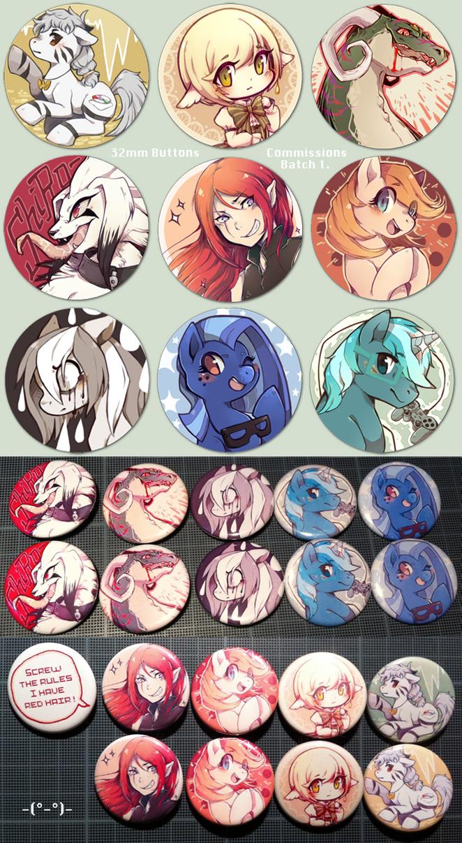 Button commissions - Batch 1. by Mi-eau