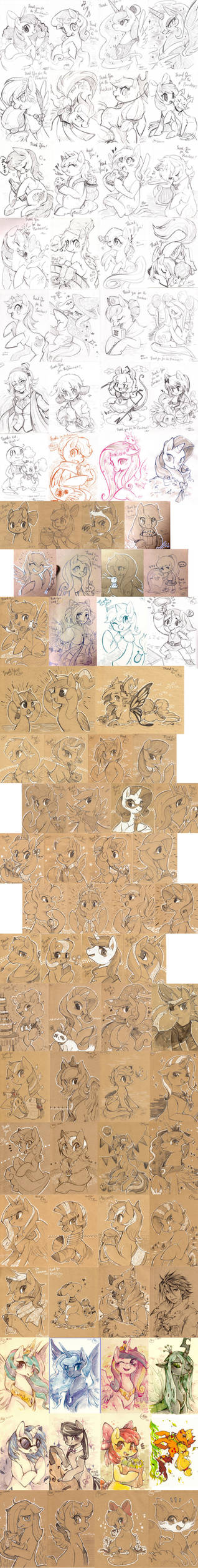 One year worth of Etsy sketches -