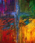 Abstract cross painting