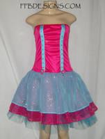 Pink n blue formal dress by funkyfunnybone
