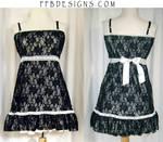Black lace long top