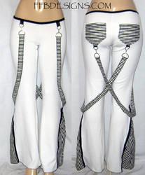 Black n white fleece pants by funkyfunnybone