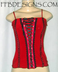 Red corset top w black lace by funkyfunnybone