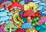 Mushroom Forest Colouring Page - Coloured