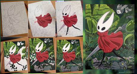 Hornet acrylic painting process by gingersai