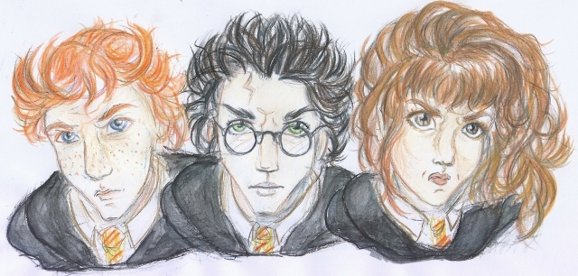 Harry Ron and Hermione by melodytime