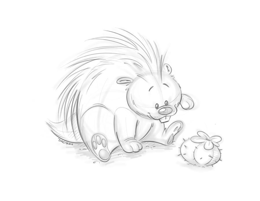 porcupine sketch by baron von jello