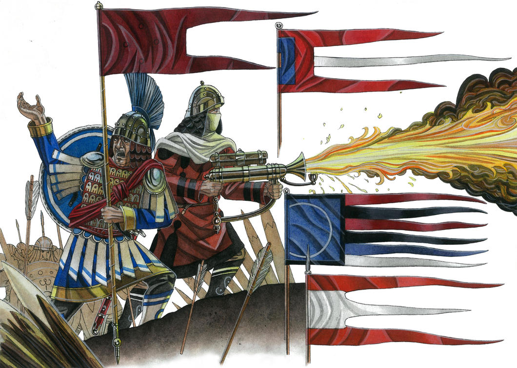 Medieval Roman Empire flags/battle standards by AMELIANVS