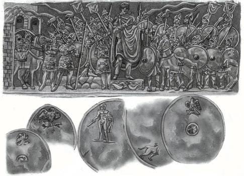 Galerius giving adlocutio to his soldiers