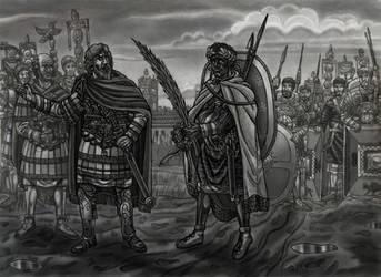 Ethiopian Roman soldier meets Emperor S.Severus by AMELIANVS