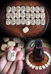 Handmade wooden rune set with a bag