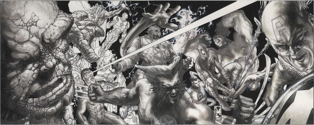 MARVEL HEROES LITHO BW by simonebianchi