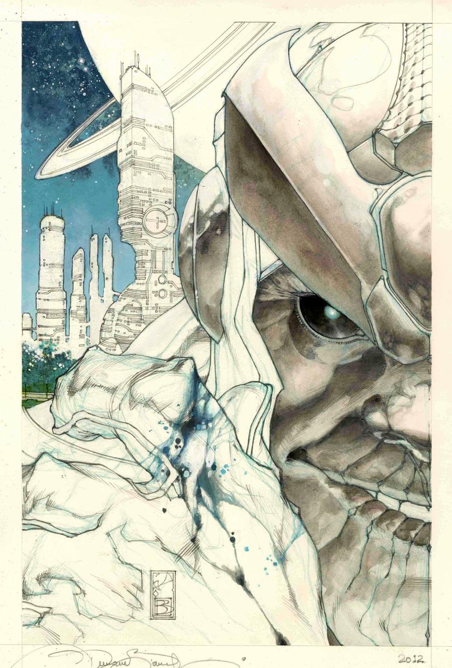 Thanos Rising # 1 cover pencil preliminary by simonebianchi