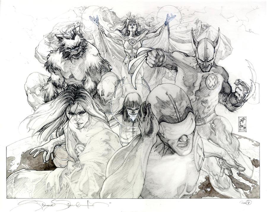 Astonishing X men 25 cover pencil by simonebianchi