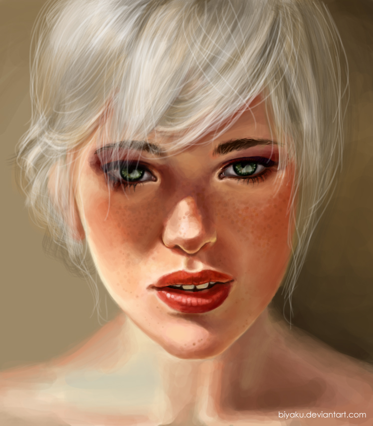 girl with white hair by Biyaku on DeviantArt  girl with white...