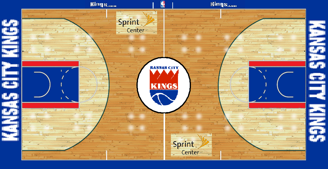 Nba Kansas City Kings Custom Basketball Court By