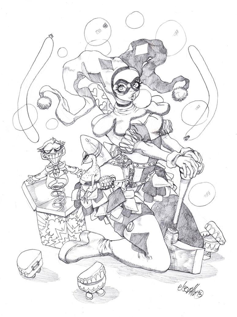 Harly Quinn Sketchy by elsevilla