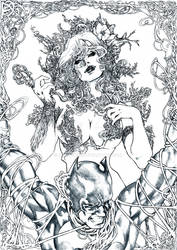Poison Ivy and Batman by nonwings