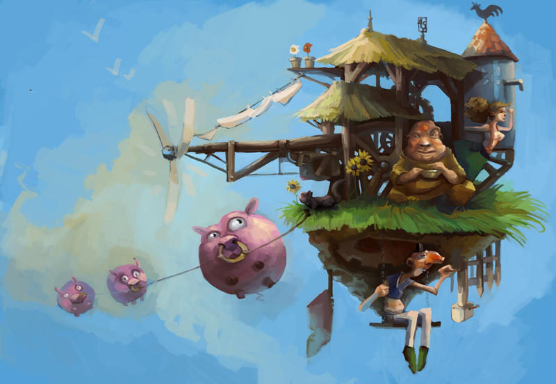The flying farm... by Pendalune
