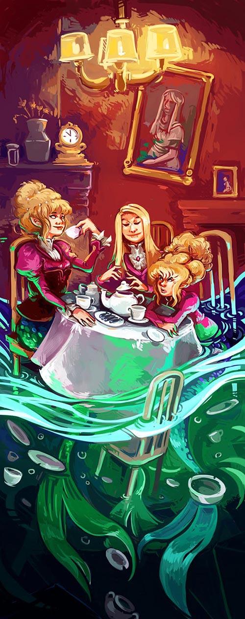 Mermaid's tea party by Pendalune