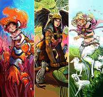 Monster girls bookmarks by Pendalune