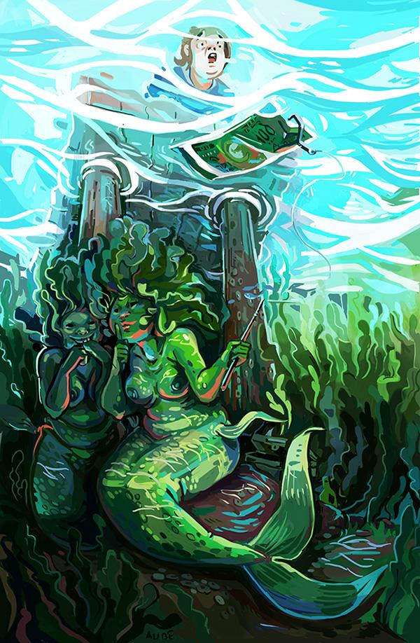 Mermaid's hunting by Pendalune