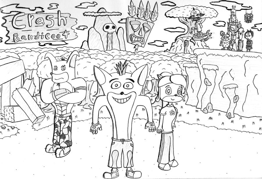 Crash Bandicoot Coloring Pages