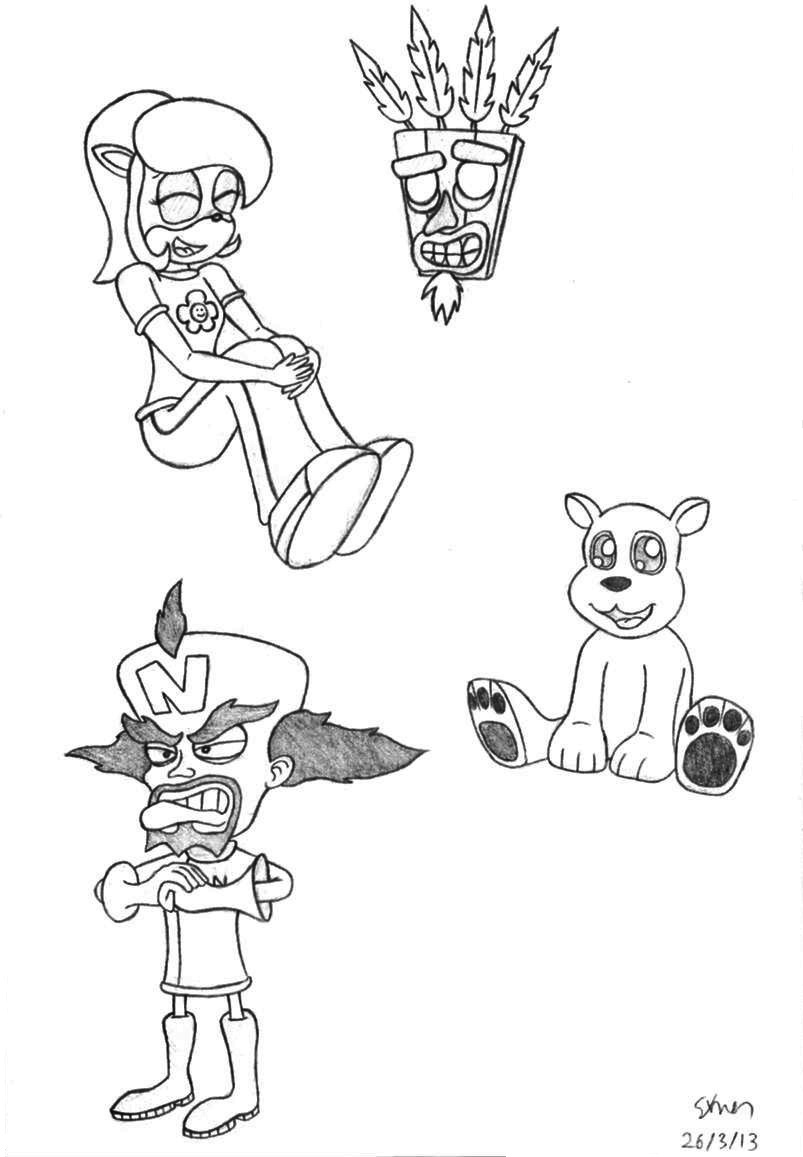 Crash bandicoot characters 1 by simonarty on deviantart for Crash bandicoot coloring pages