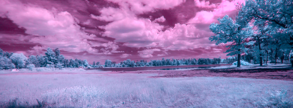 Howes Lake IR Panorama by blackismyheart90