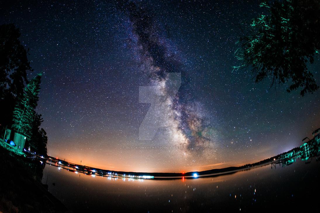 Milky Way over Lake Margrethe by blackismyheart90