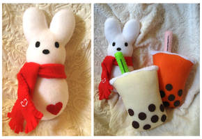 Love Bunny and Boba Plush by P-isfor-Plushes
