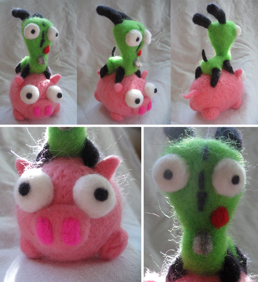 Needle Felted Gir and Piggy by P-isfor-Plushes