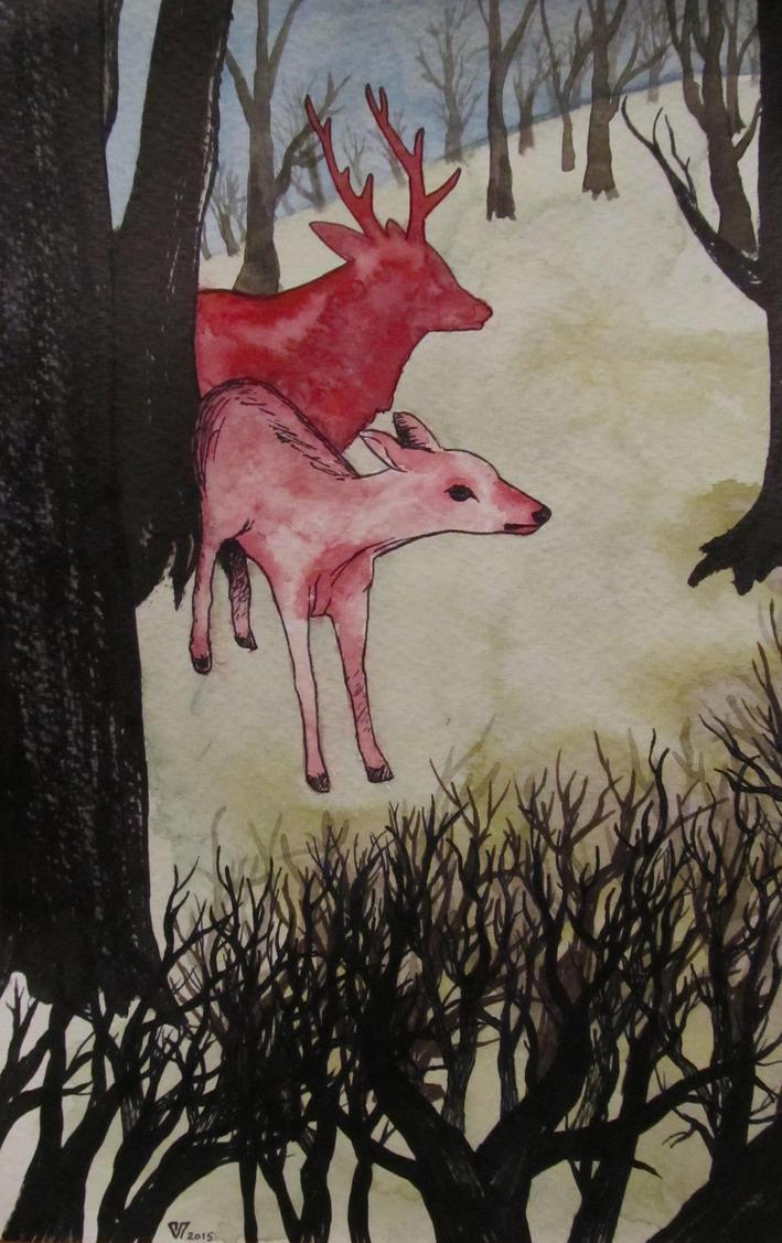 Scarlet Deers, Dark Brambles by LightCarrier
