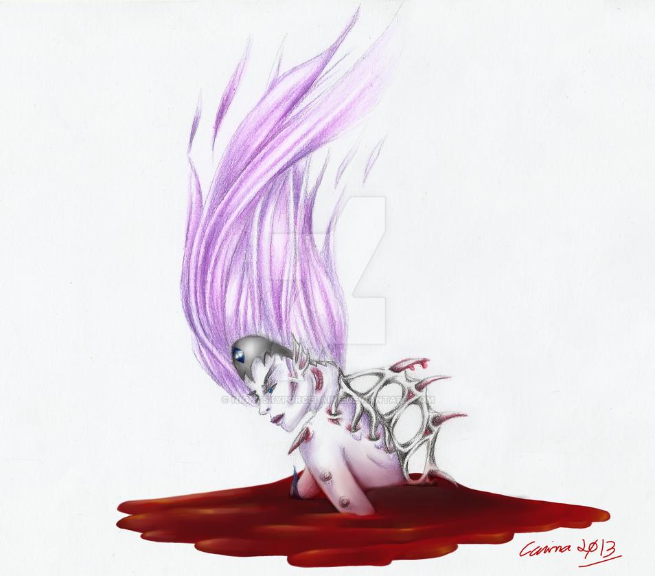 Flaming blood by NightSkyPorcelaine