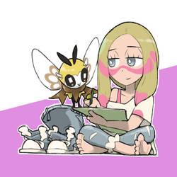 Mina with Ribombee