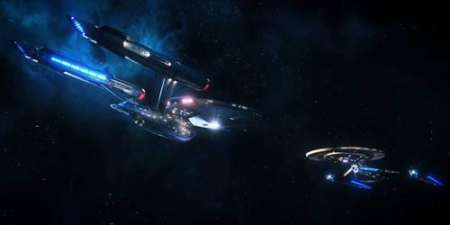 U.S.S. Enterprise Meets U.S.S. Discovery by FrehleyFan