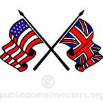 Flags of UK and USA in vector format public domain