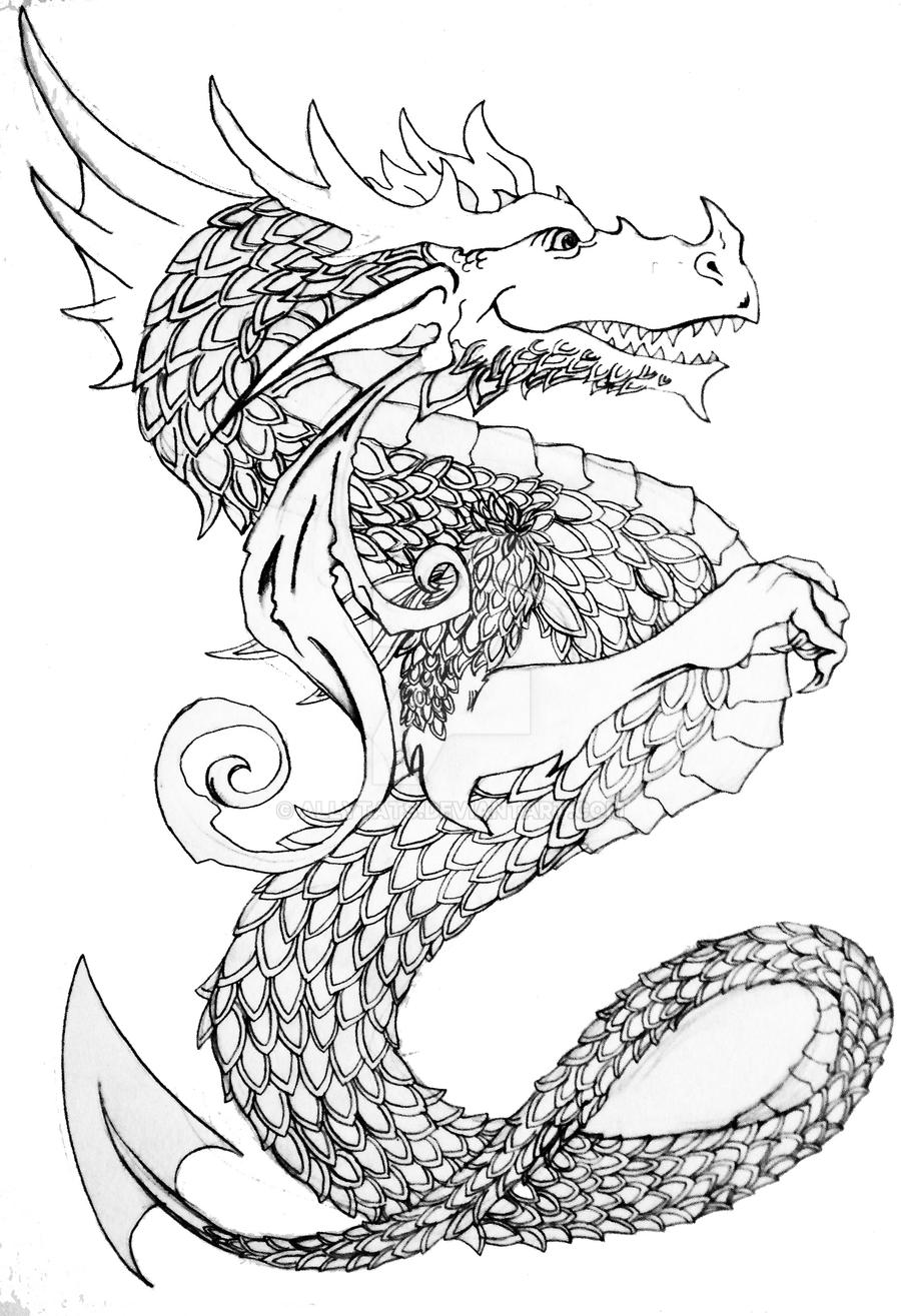 dragon outline by allytats dragon outline by allytats - Dragon Outline