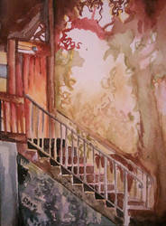 Up the Stairs - Watercolour by icynova96