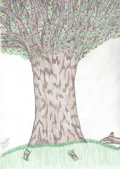 Colored Pencil Only Tree