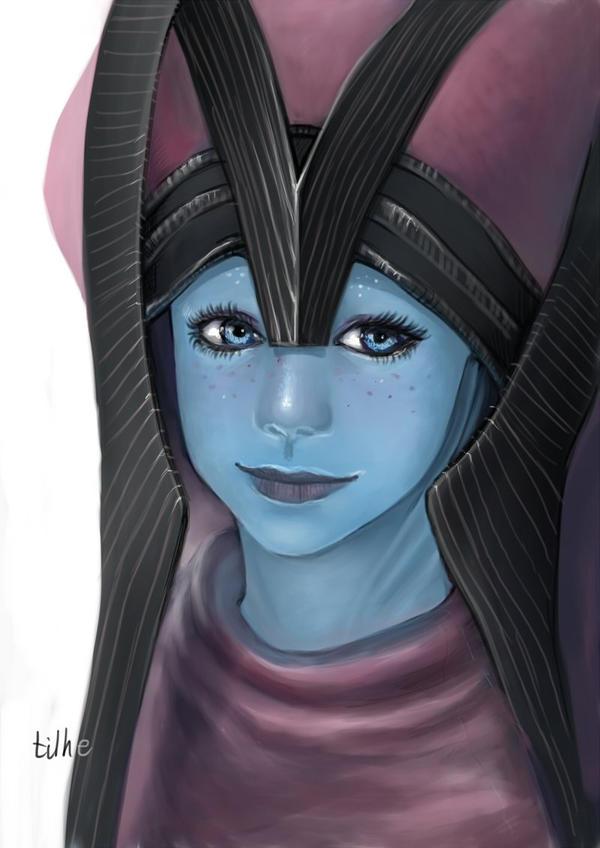 Baby Liara in Benezia's Headdress by tilhe