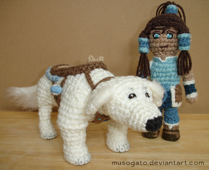 Korra and Naga Amigurumi by musogato