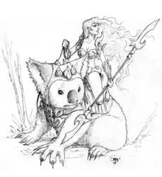 Amazone on koala by Eviljoss