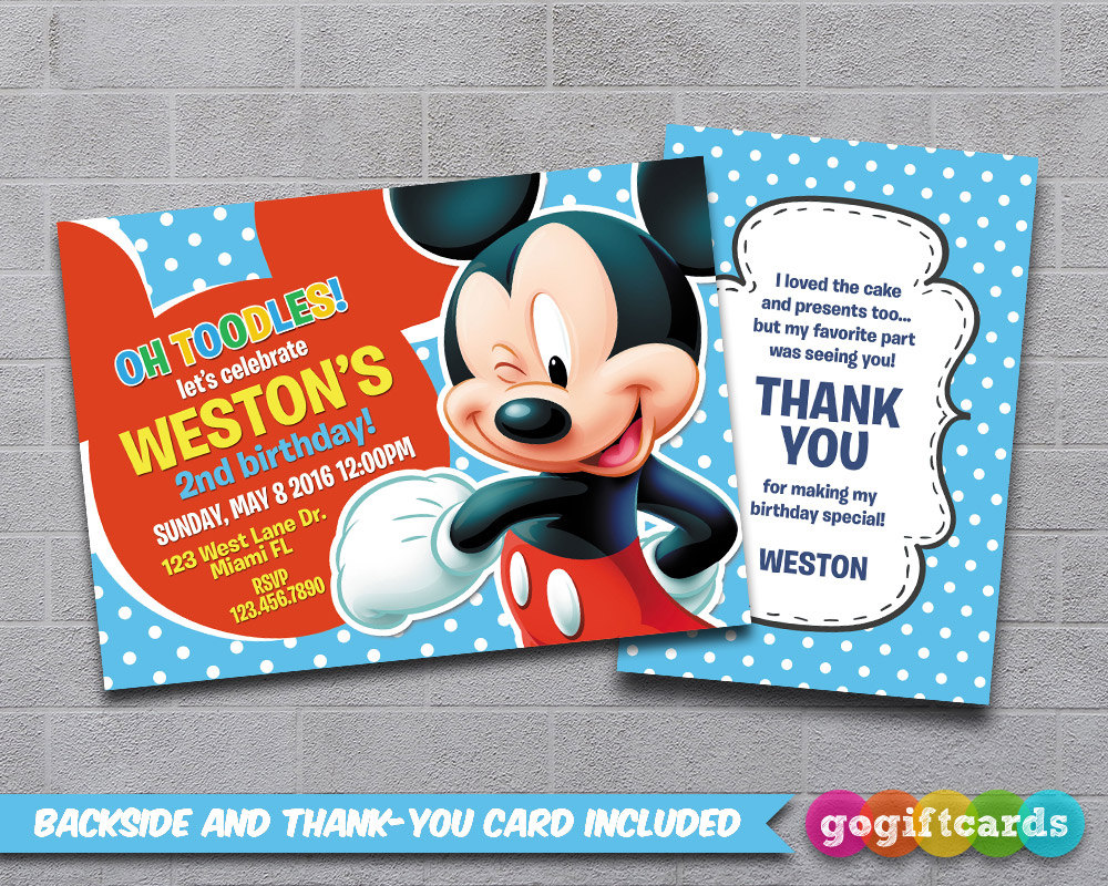 Mickey Mouse Birthday Invitation Cards by gogiftcards on DeviantArt