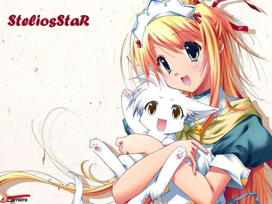Kawaii Neko Anime Wallpaper by SteliosStaR