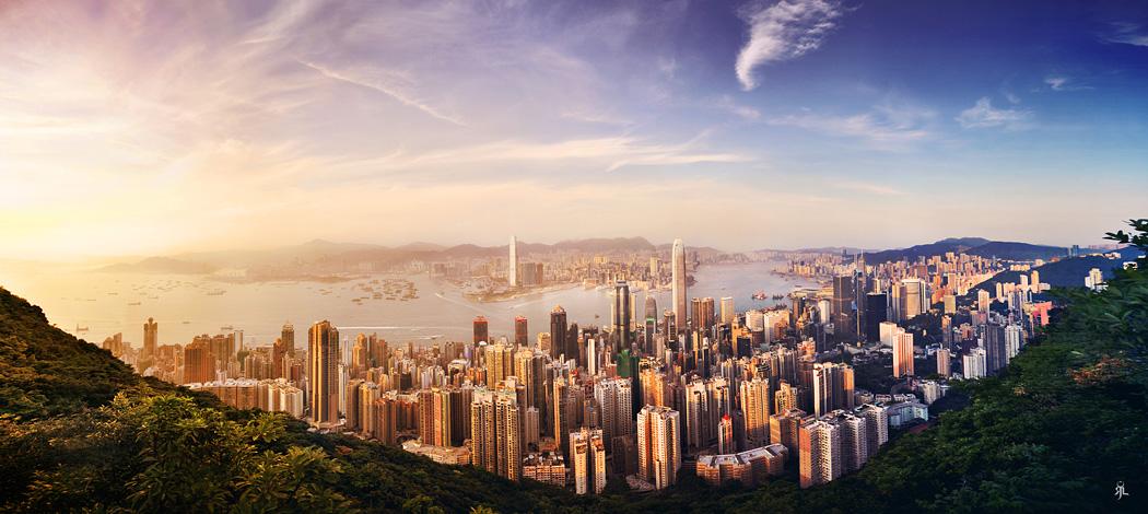 Sunset from Hong Kong Peak by romainjl