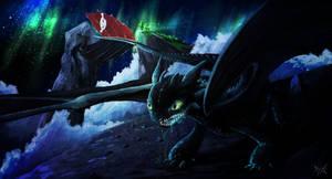 Toothless under the Aurora