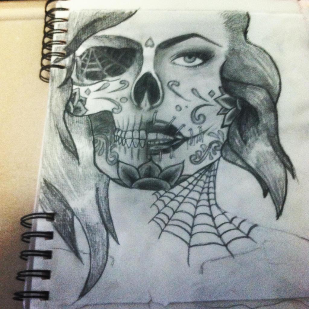 how to draw half face half skull