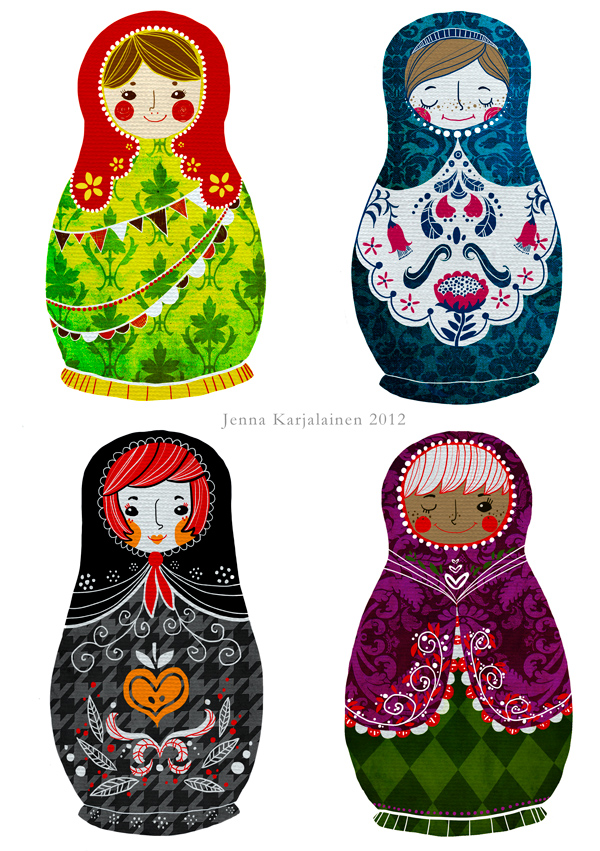 Matryoshka stickers by nei-no